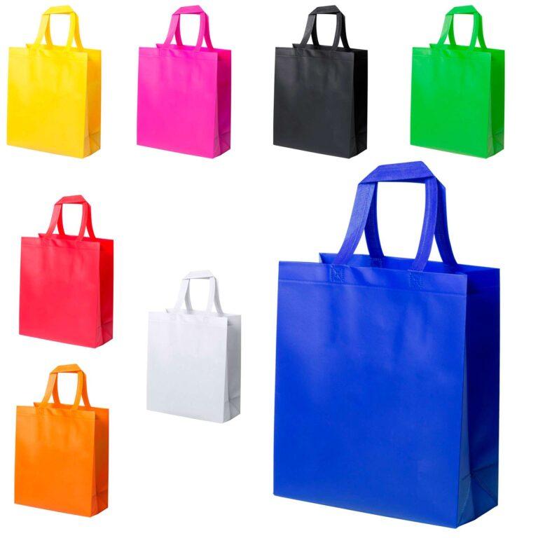 Borsa shopper extra durevole in TNT laminato
