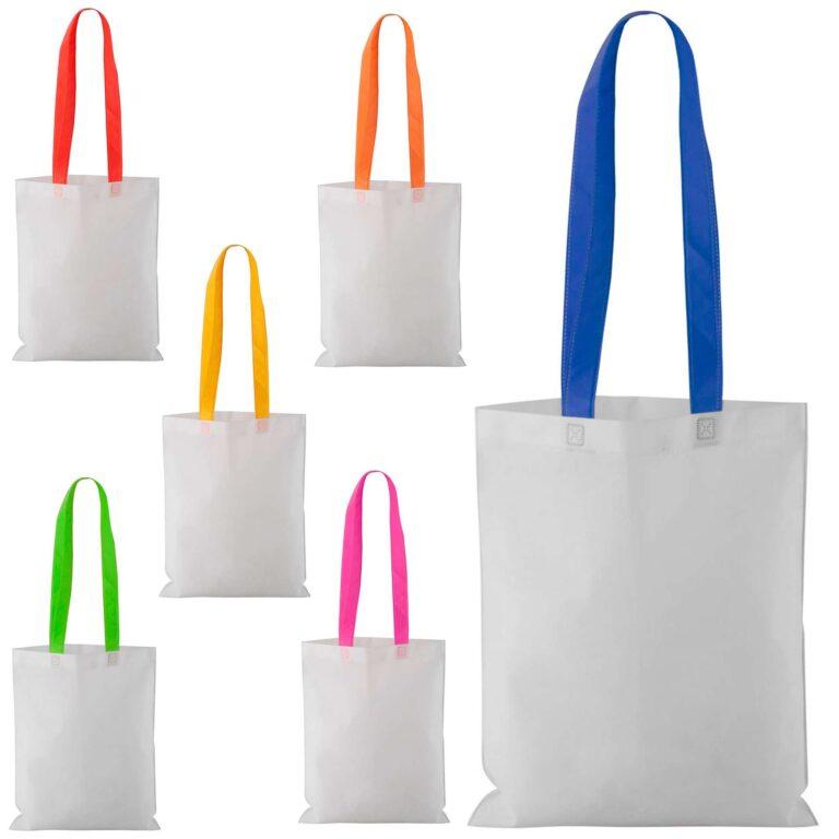 Borsa shopper in TNT bianca e manici colorati