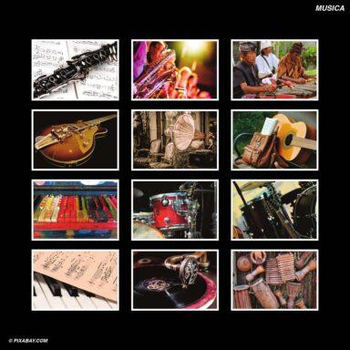 Tema fotografico per calendari con box tipo CD: Musica