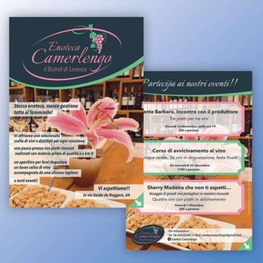 Volantino promozionale Enoteca Camerlengo