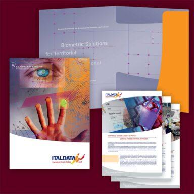 Cartellina porta documenti personalizzata per Italdata contenente brochure e schede prodotto