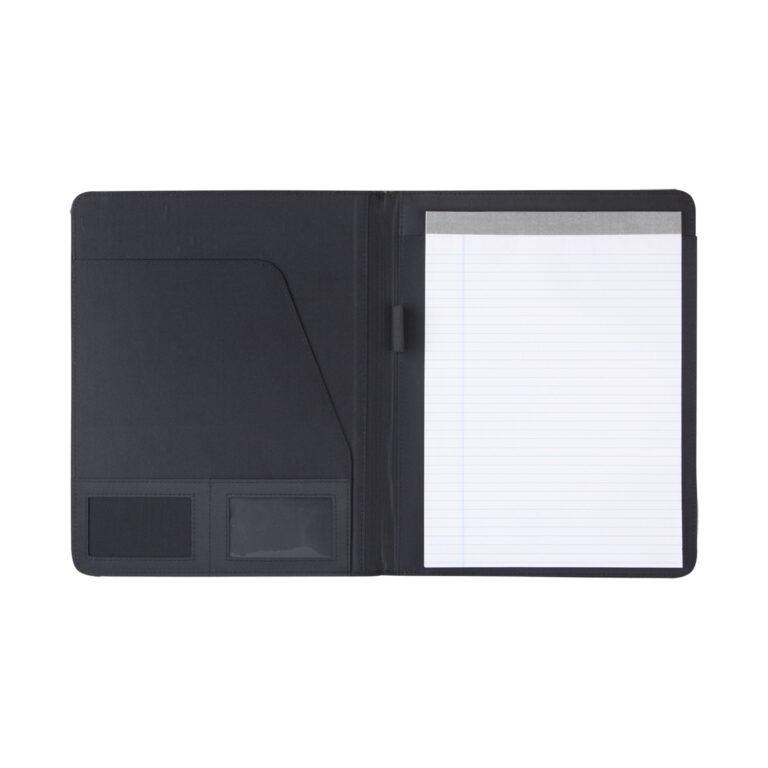 Cartella portablocco f.to A4 aperta con blocco notes e porta penna