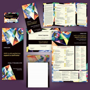 Supporti grafici realizzati per l'evento IMID: depliant programma 4 ante, locandina, badge partecipanti, attestato di partecipazione, blocco notes