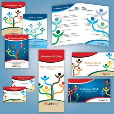 Kit per eventi Jakinitaly: programmi per eventi, badge, slide di presentazione roll up,