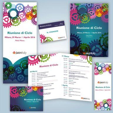 Supporti per Riunione di Ciclo Jakinitaly: programma evento, badge, roll up, slide di presentazione, locandina