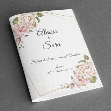 Copertina libretto messa con rose su carta martellata Picasso