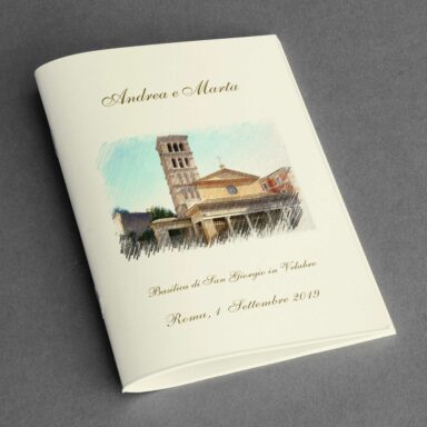 Copertina libretto messa con chiesa a colori ad effetto pittorico su carta Twill avorio