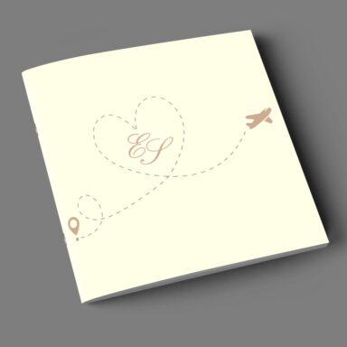 Copertina libretto messa tema viaggio con iniziali su carta Twill Avorio