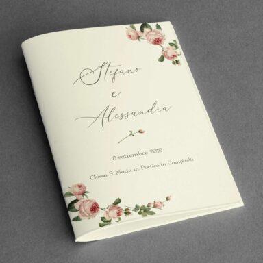 Copertina libretto messa con rose su carta Twill Avorio