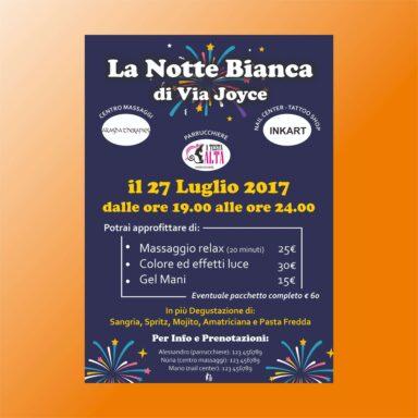 Volantino promozionale evento La Notte Bianca diVia Joyce