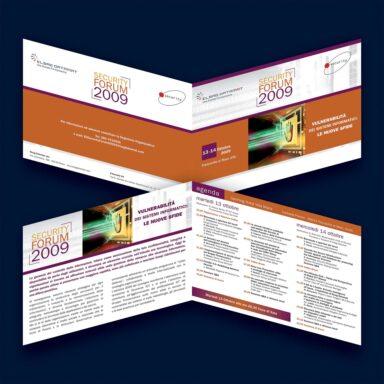 Invito e programma per evento Security Forum 2009, 2 ante, formato A5 orizzontale, apertura ad album