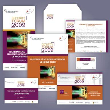 Evento Security Forum 2009: locandina, programma, busta per invito, save the date, badge, slide di presentazione